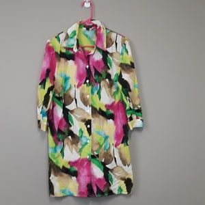 Dana Buckman multi color print button down tunic